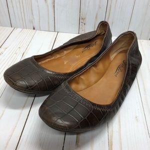 Lucky Brand brown crocodile chocolate flats 8 1/2